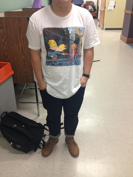 Brian Fernandez Poses in his Urban Outfitters attire