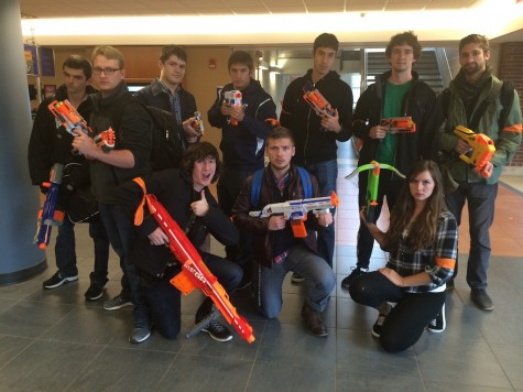 Humans armed with Nerf guns to protect themselves from the zombies