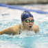 Akron swimmer swimming the butterfly on her way to a top three finish.