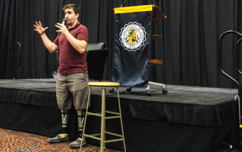 Boston bombing survivor visits UA