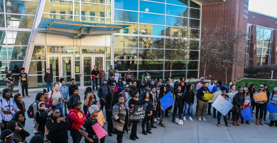 The+Black+Students+United+rally+was+held+on+Monday%2C+Nov.+16%2C+outside+of+the+Union.+