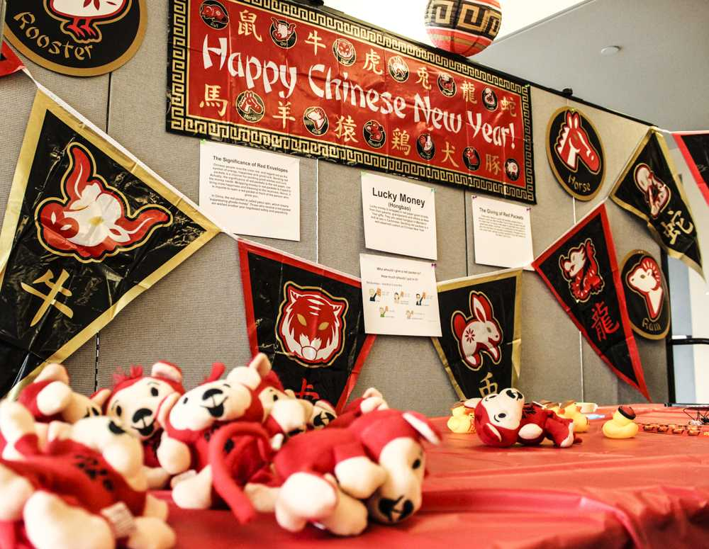 The Chinese New Year event featured holiday decorations and explanations of many of the related traditions.