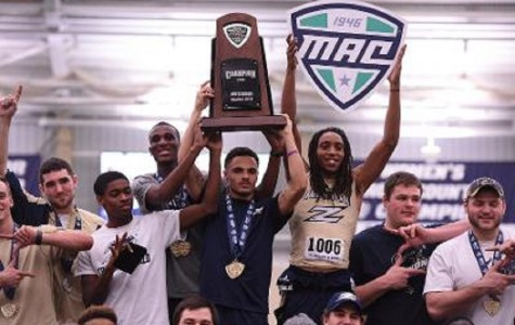 Men's track takes third straight MAC title