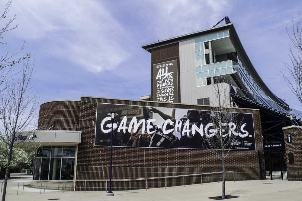 These banners, on and near InfoCision Stadium, are examples of the University's new marketing from this academic year.