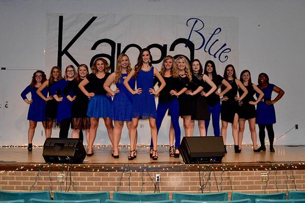 Members of all-female acapella group Kanga Blue.