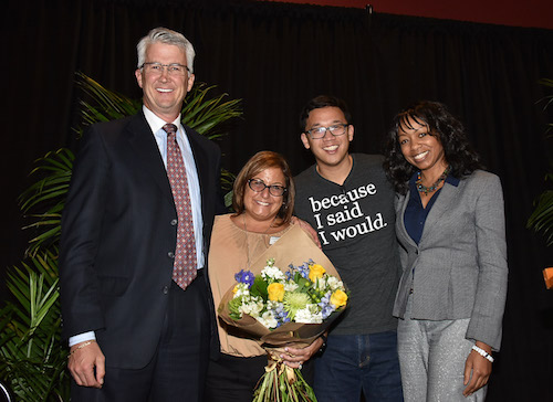 Left to right: John and Sarah Adams, 'Because I said I would' founder Alex Sheen, Williams Honors College Dean Lakeesha Ransom.
