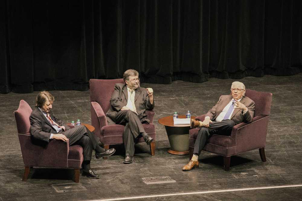 P.J. O'Rourke (left), John Greene (middle), and Carl Bernstein (right) talk politics, news and candidates at E.J. Thomas Hall last Thursday.