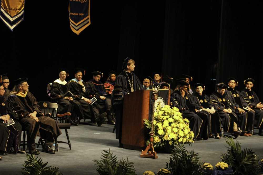 Interim President Matt Wilson welcomed freshmen at New Student Convocation last Friday.