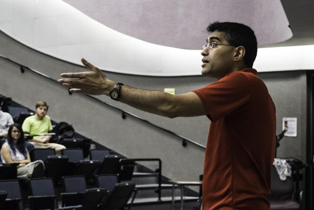 Nei Sinhababu spoke to a crowd of about 80 students Tuesday night.