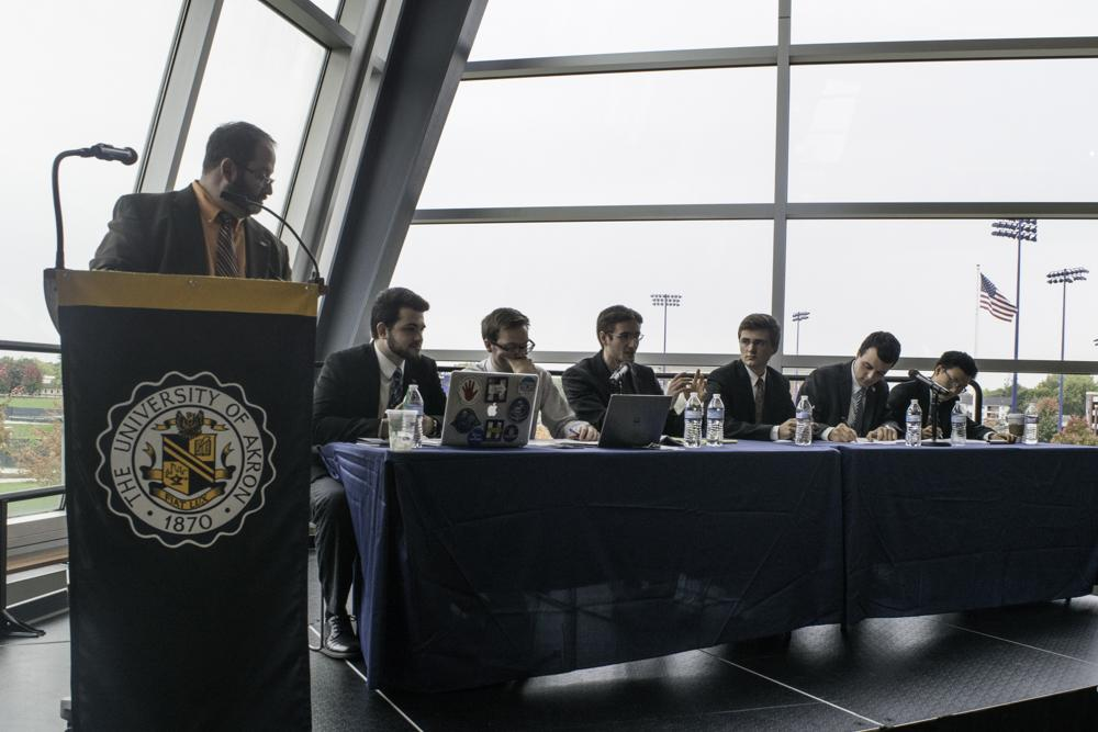 Dr. Cohen, political science professor, moderated the debate between the College Democrats and Conservative students.