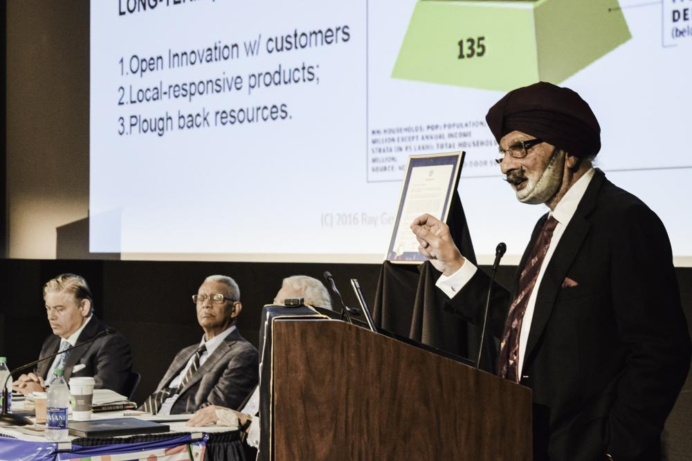 Ratanjit Sondhe, UA polymer science grad, was the keynote speaker at the Global Oneness event yesterday.