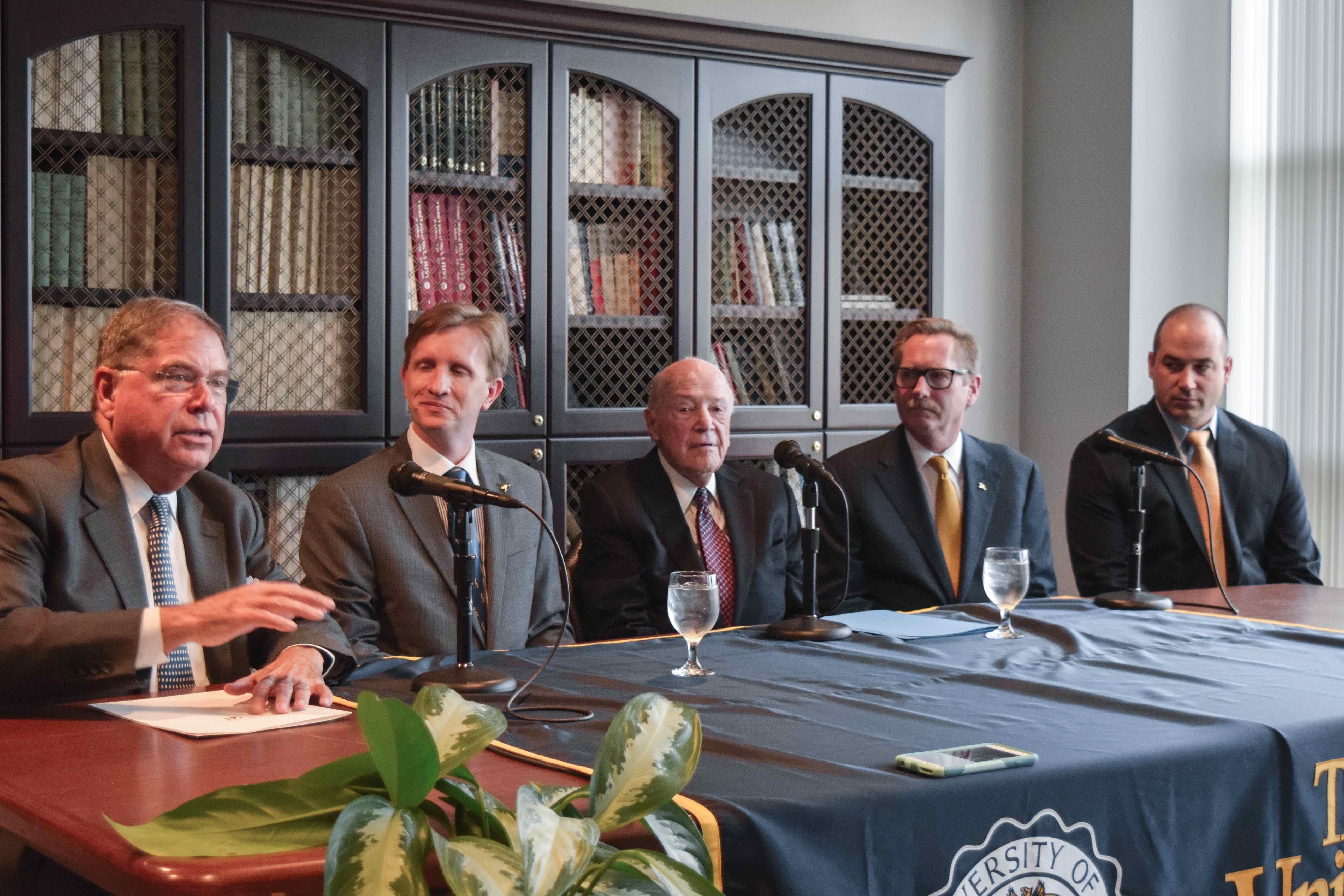 Left to right:  President of the Knight Foundation Alberto Ibarguen, UA President Matthew Wilson, Dr. Gerald Austen, Dean Eric Amis, Professor Matthew Becker.