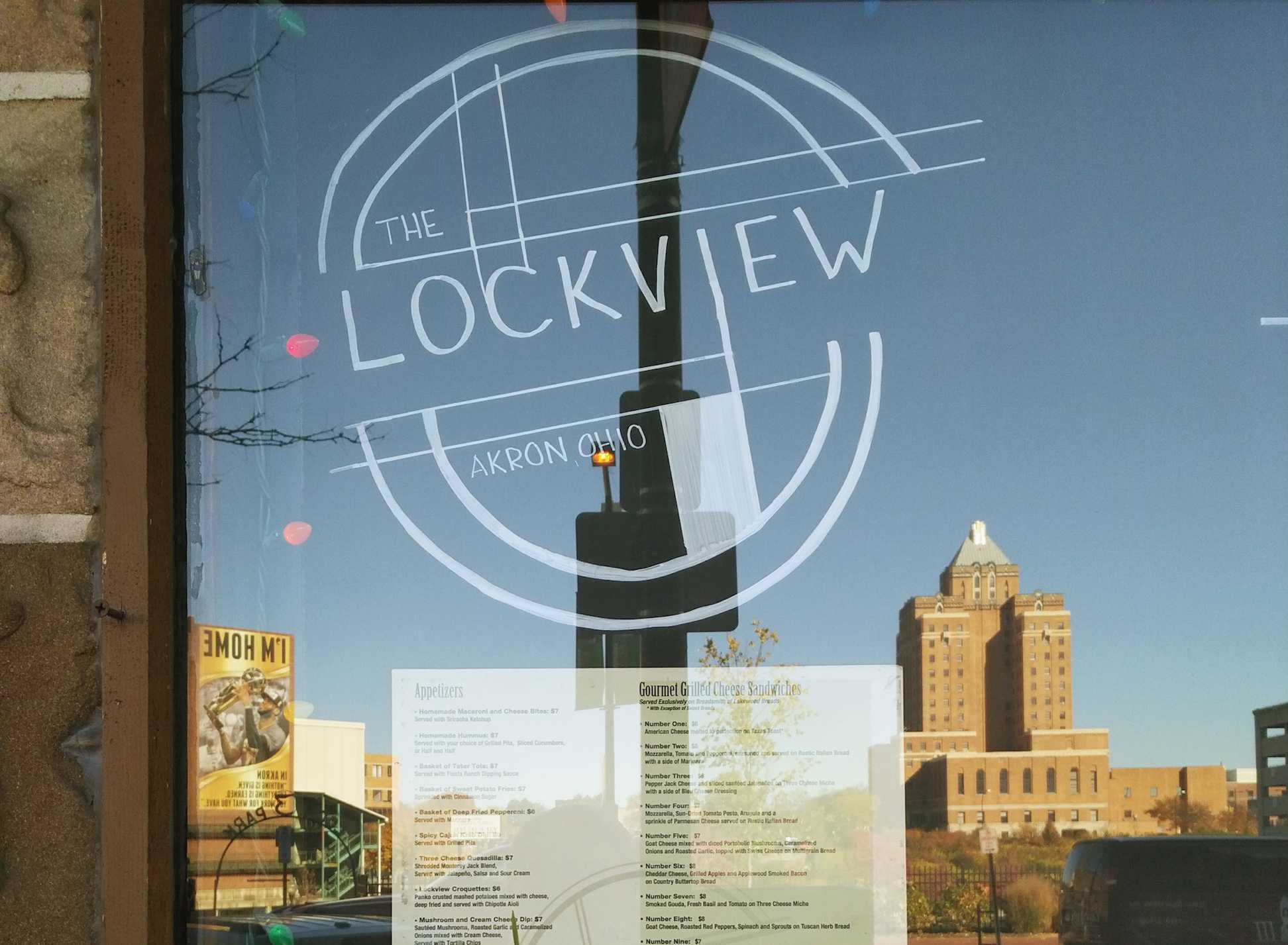 The Lockview entrance featuring the Akron skyline.