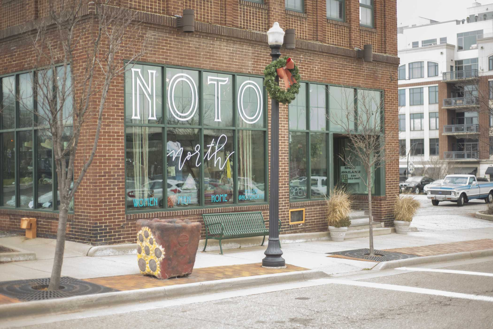 NOTO North is located across from Luigi's Italian Restaurant.