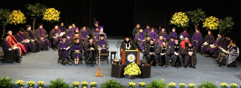 President Proenza stands before loved ones to give his last speech to law graduates.