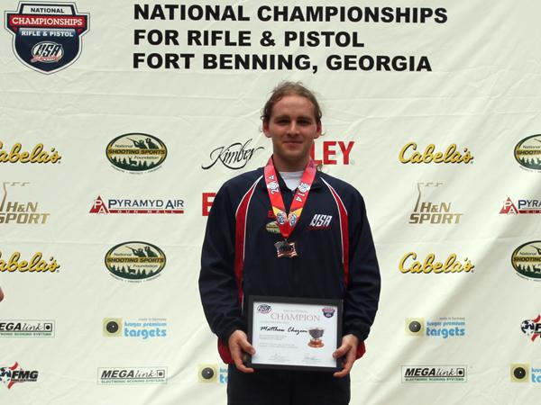 Chezem brings home the gold for UA's rifle team.