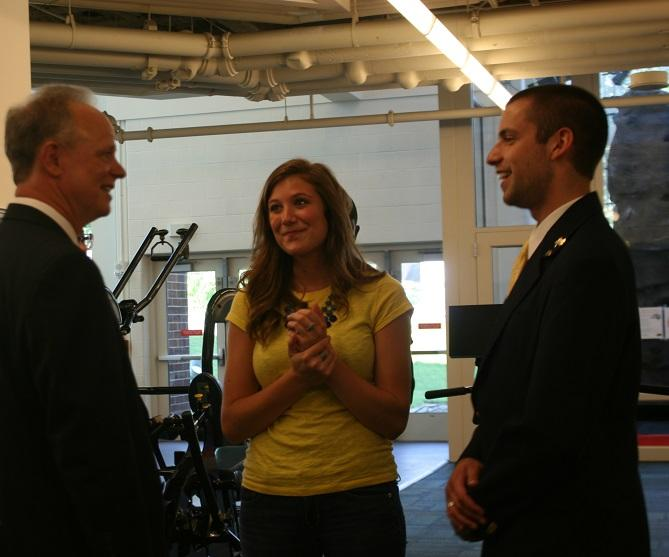 President Scott Scarborough talks with students at the Rec Center on Scarborough's first day on campus.
