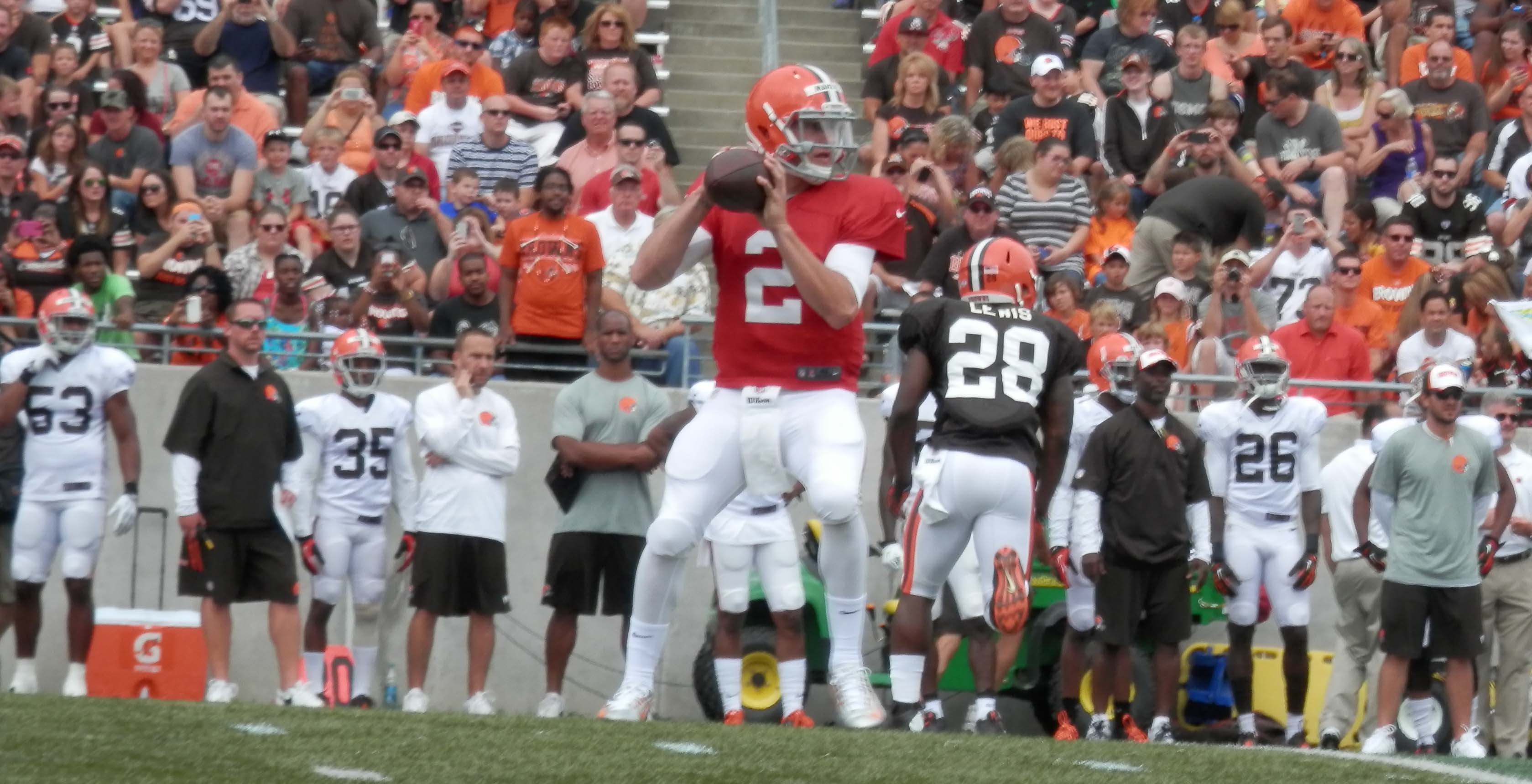 Johnny Manziel stands in the pocket at InfoCision.