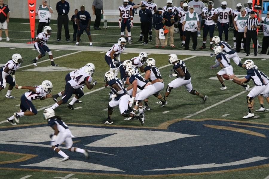 O-line ready to block the defensive line of Howard University.
