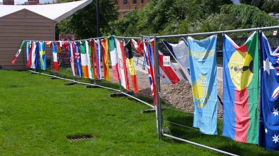 Flags of the nations represented at the festival.
