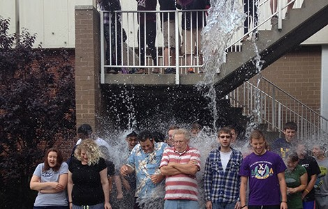 Biology staff and students take ALS ice-bucket challenge