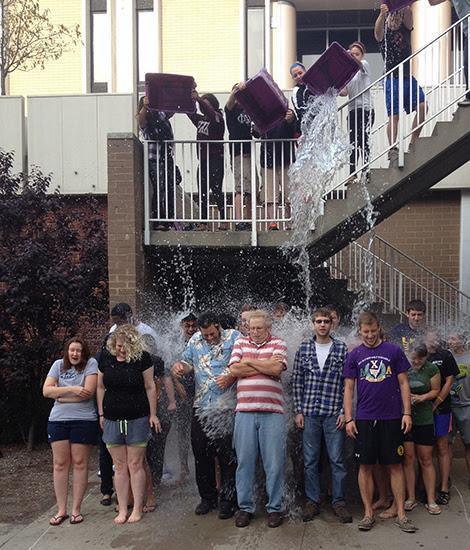 Assistant Professor Jordan Renna and students take the ALS Ice-Bucket Challenge