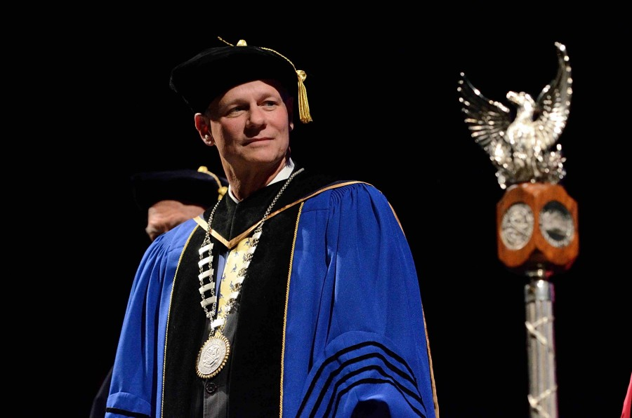 President Scott Scarborough receiving ceremonial gifts at his investiture ceremony at E.J. Thomas Hall.