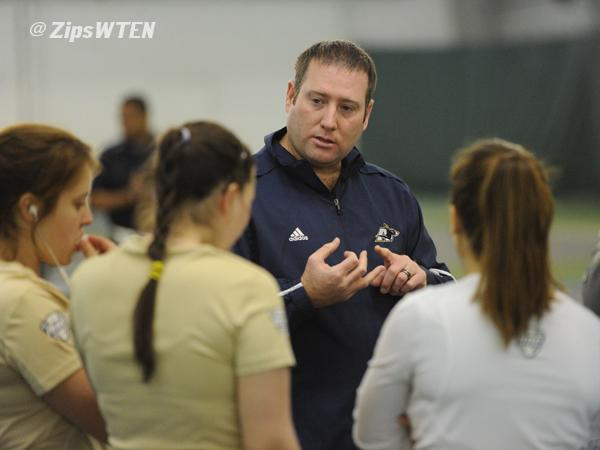 Head coach Brandon Padgett talking to his team.