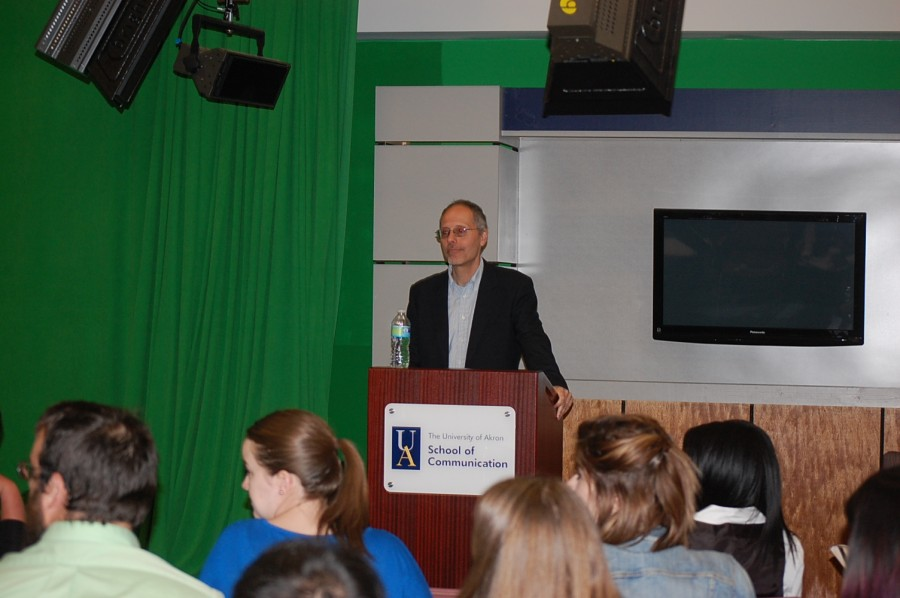 Haridakis as he speaks to students about media.