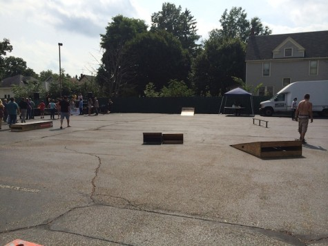 The skatepark that was set up in front of the stage on Grand Ave
