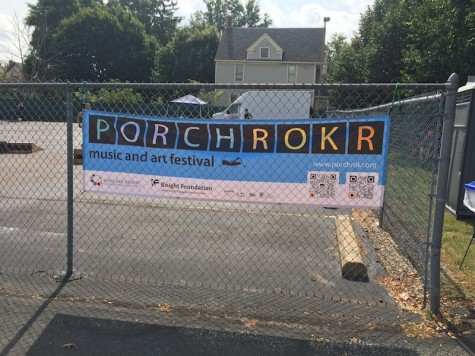 One of the many Porch Rokr banners hung up throughout Highland Square
