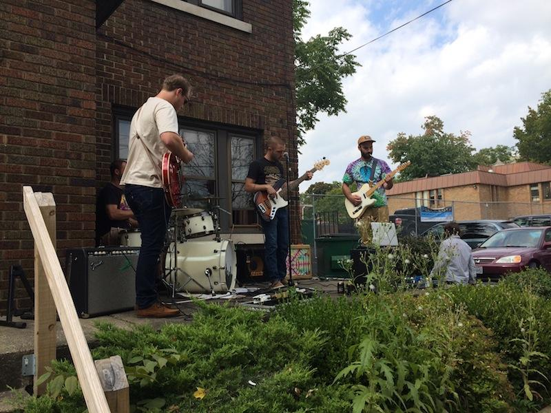 The Brothers Band performs on their own porch