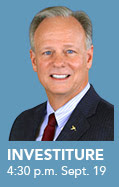 A poster for Scott Scarborough's investiture as president of The University of Akron.
