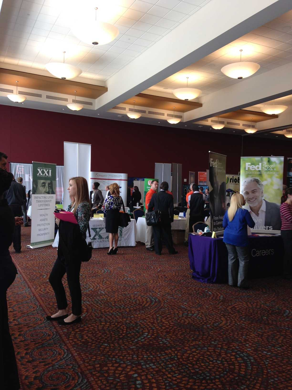 Students gathered in the Student Union for the fall career fair.