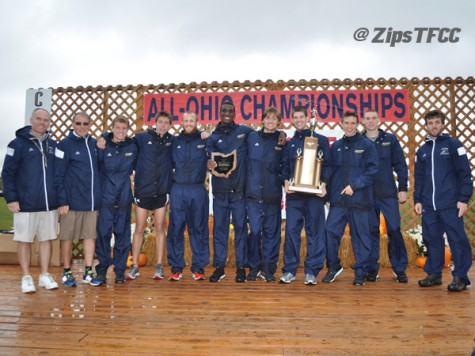 Men's cross country team after their victory in the All-Ohio Championship.