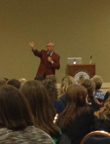 Youngstown State University president Jim Tressel speaks about leadership to the Saturday morning audience.