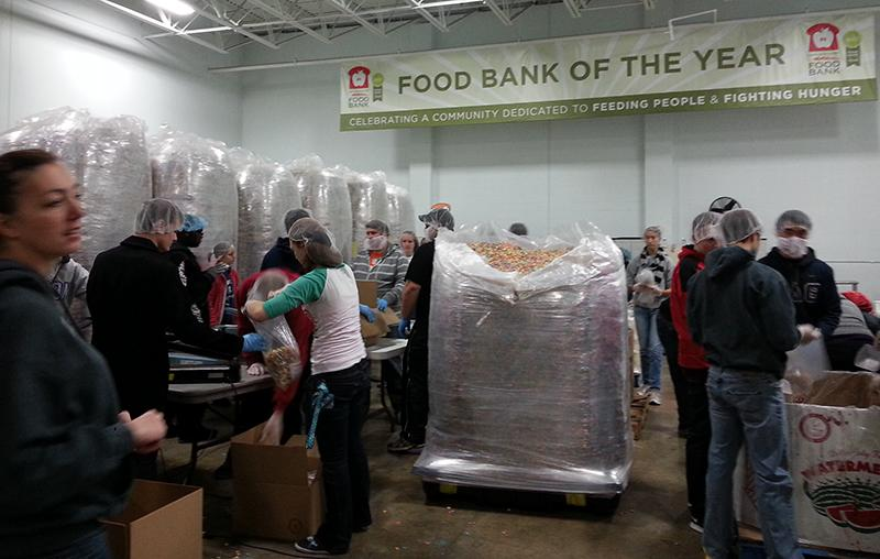 Volunteers working at the Akron-Canton Food Bank during 2013 Make a Difference Day.