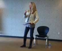 Eden Kozlowski visited UA to lecture on how meditation can help improve leadership.