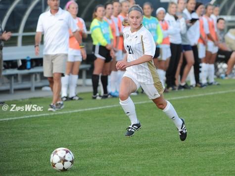 Karina Atkinson attacking the ball into EMU territory.