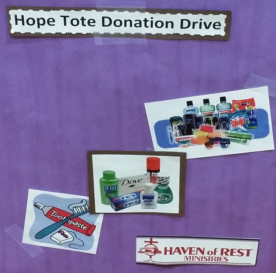 Students help during Hunger and Homelessness week by donating toiletries.