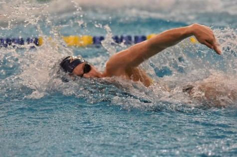 Akron swimmer during her race in CSU.