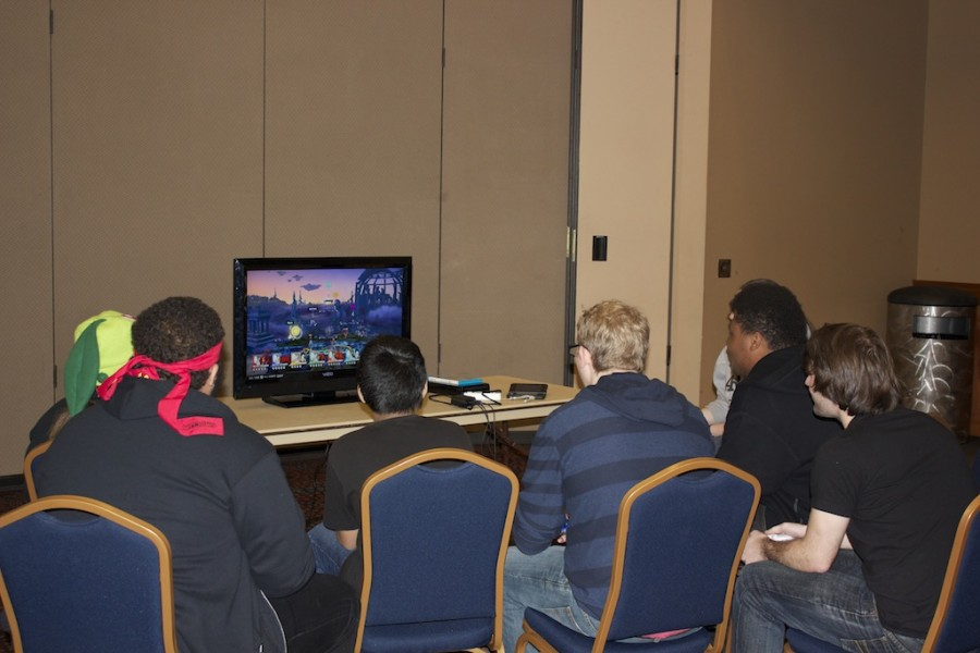 Students compete in Super Smash Bros. on Wii U