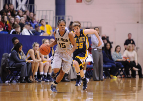 Anita Brown taking the ball up the court against KSU.