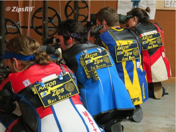The University of Akron's rifle team during their meet against the University of Science in Philadelphia.