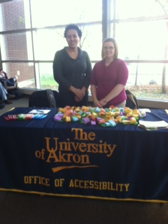 Latesha Bigford (left) and Ashley Poulos at one of Monday's events.