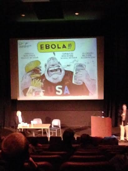 A cartoon explaining the panic of Americans about Ebola