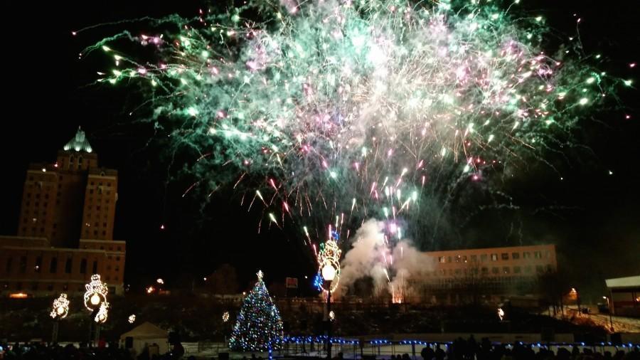 Fireworks illuminated the night sky over Lock 3.