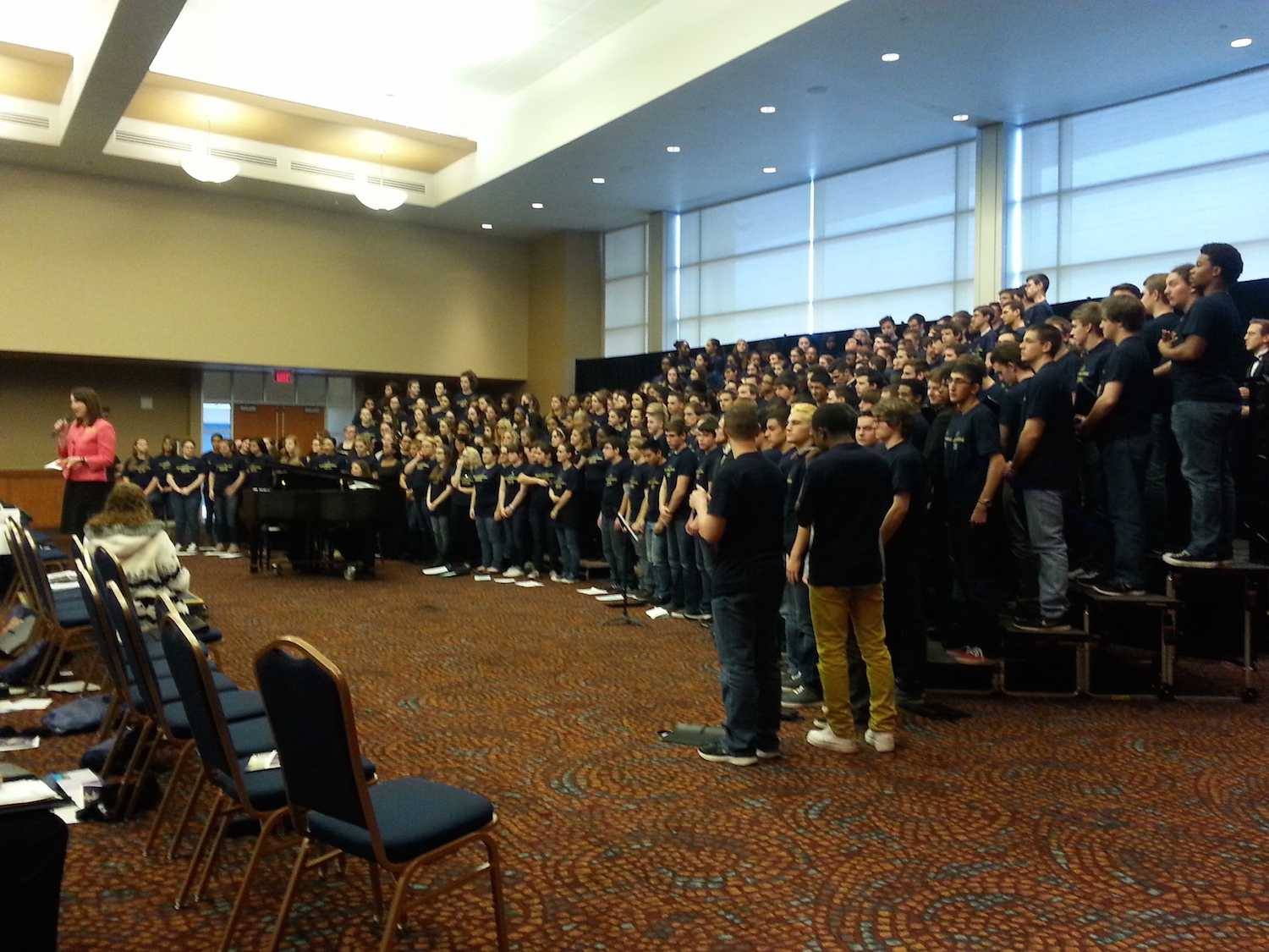 Students of Strongsville, Hilliard Bradley and Gahanna Lincoln High School performing in choir.