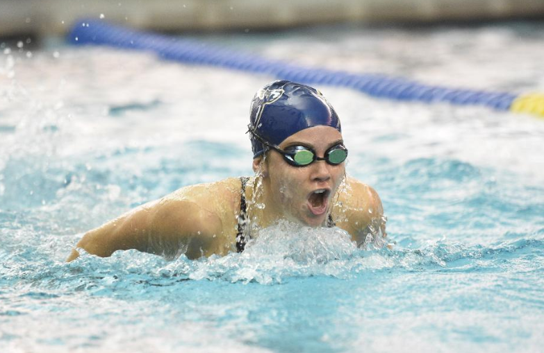 Akron+swimmer+swimming+the+butterfly+on+her+way+to+a+top+three+finish.+