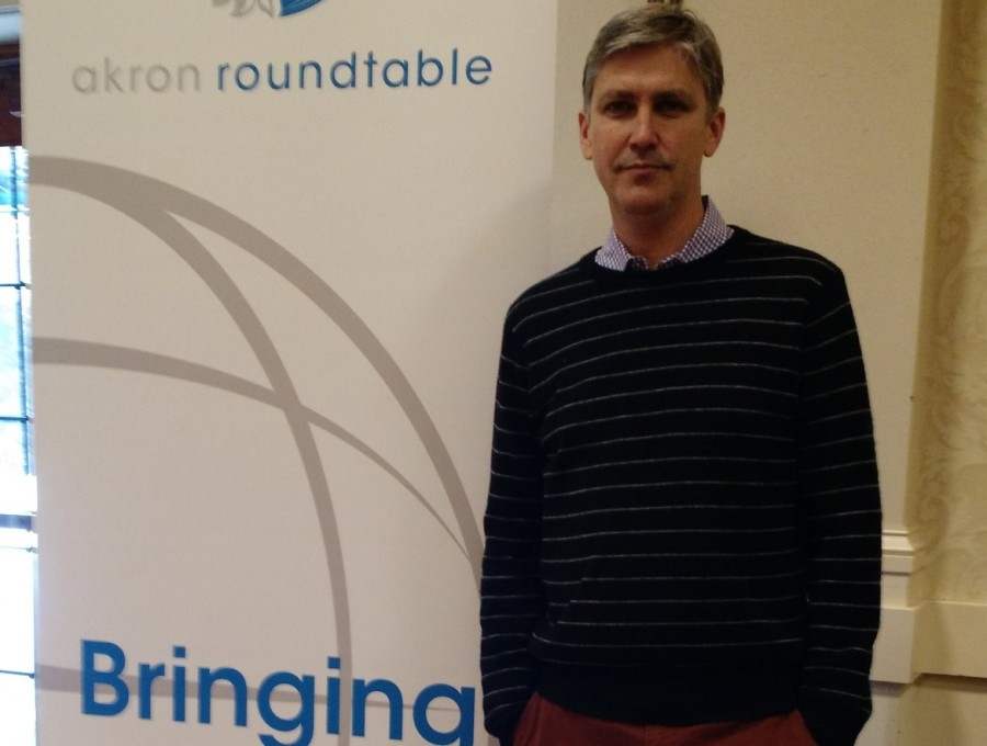 Steven Johnson spoke at the Akron Roundtable luncheon.